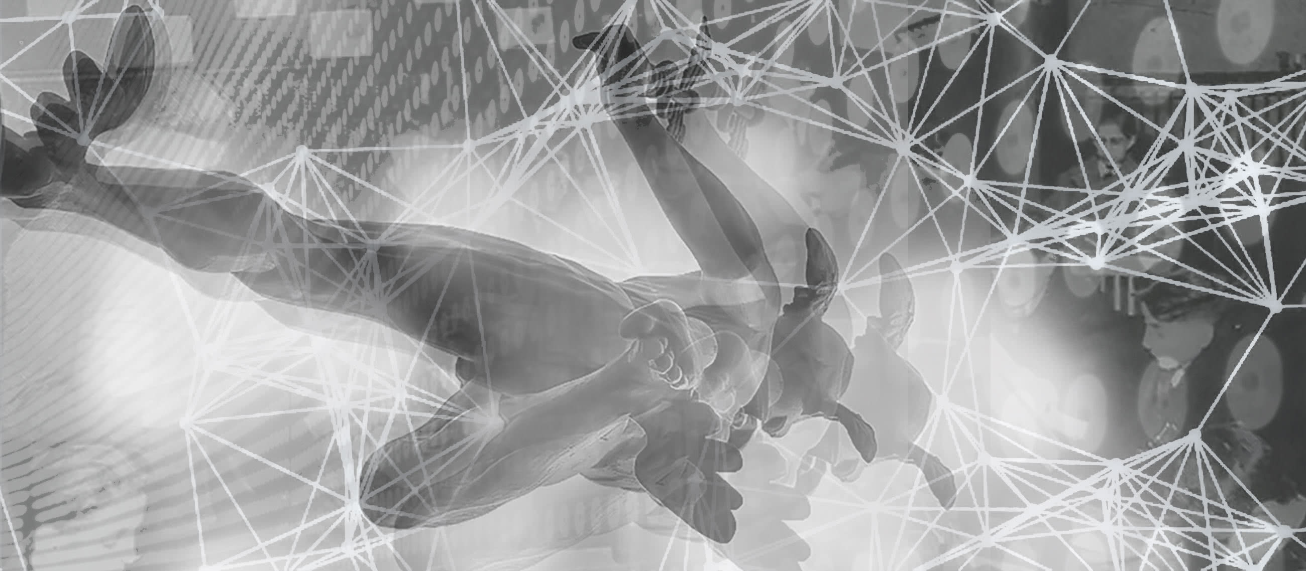 Photomontage depicting Hermes flying into complicated-looking retro-futuristic shapes.